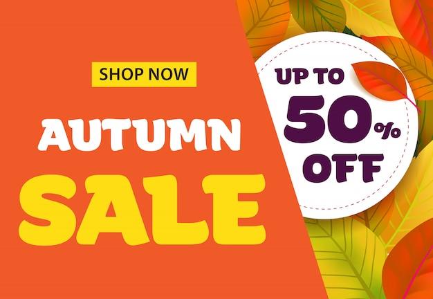 Sprzedaż jesień napis z liści. jesienna oferta lub reklama sprzedażowa