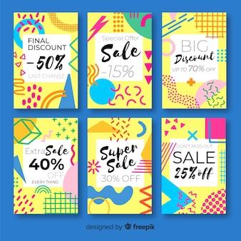 Sprzedaż kolekcji bannerów w stylu memphis