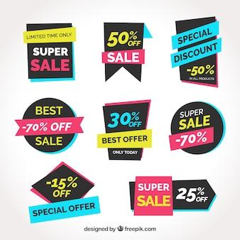 Sprzedaż kolekcji etykiet z wieloma kolorami
