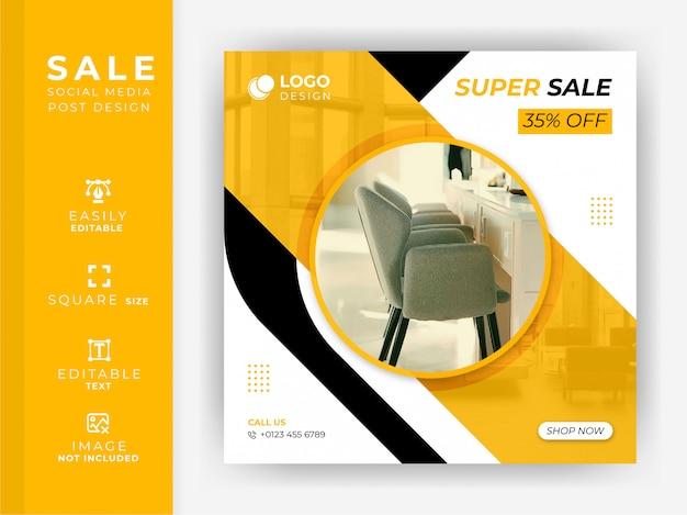 Sprzedaż mebli social media post i krzesło sprzedaż szablon transparent premia
