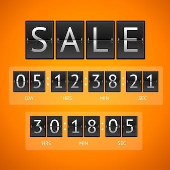 Sprzedaż mechanicznych timerów. pojęcie odliczania na białym tle na pomarańczowym tle.