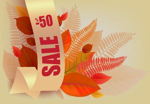Sprzedaż, minus pięćdziesiąt procent napis, pomarańczowe i żółte liście.