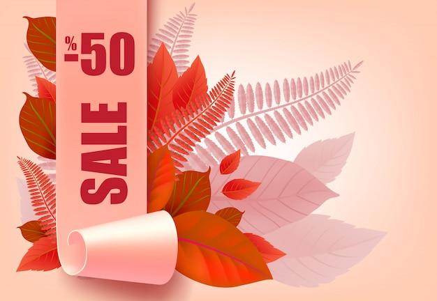 Sprzedaż, minus pięćdziesiąt procent napis z jesiennych liści. sezonowa oferta lub reklama sprzedażowa