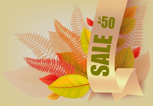 Sprzedaż, minus pięćdziesiąt procent napis, żółte i pomarańczowe liście.