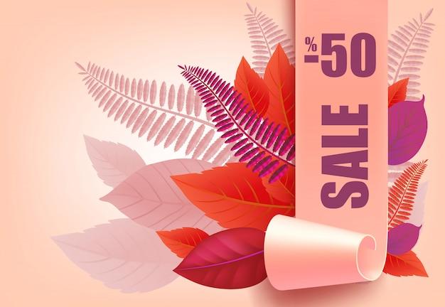 Sprzedaż, minus pięćdziesięcioprocentowy napis, fioletowe i różowe liście.