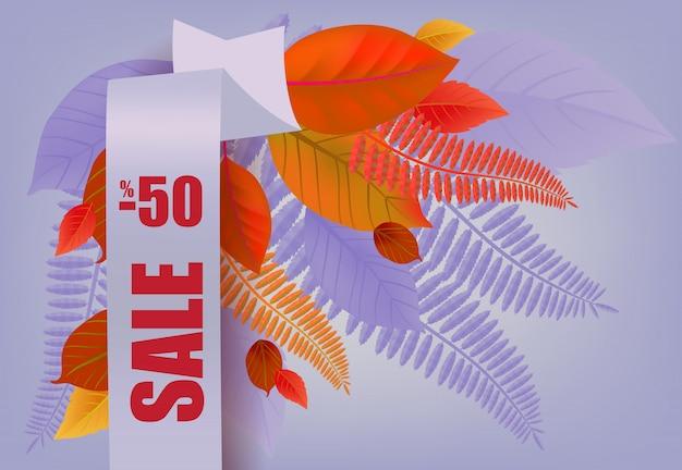 Sprzedaż, minus pięćdziesięcioprocentowy napis, pomarańczowe i fioletowe liście.