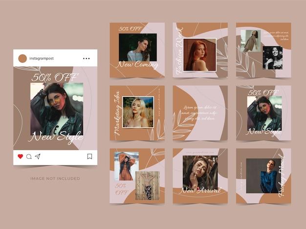 Sprzedaż mody baner szablonu reklamy w mediach społecznościowych do promocji postu.