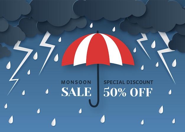 Sprzedaż monsunowa w stylu wycinanym z papieru