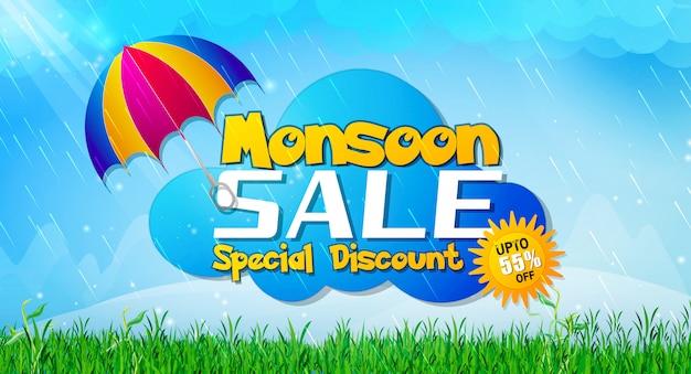 Sprzedaż monsunowa z ofertą zniżek płaskich na kolekcję mody