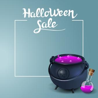 Sprzedaż na halloween, kwadratowe banery rabatowe z garnkiem czarownicy z miksturą