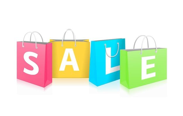 Sprzedaż na torby na zakupy na białym tle