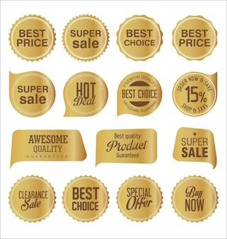 Sprzedaż naklejek i metek złota kolekcja