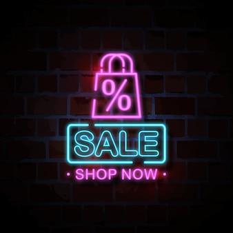 Sprzedaż neon znak styl ilustracji