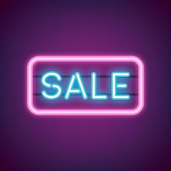 Sprzedaż niebieski neon wektor znak