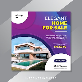 Sprzedaż nieruchomości baner w mediach społecznościowych lub kwadratowy szablon ulotki