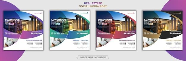 Sprzedaż nieruchomości w domu w mediach społecznościowych post banner premium vector