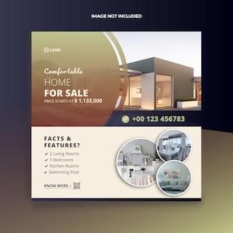 Sprzedaż nieruchomości w mediach społecznościowych post i baner internetowy