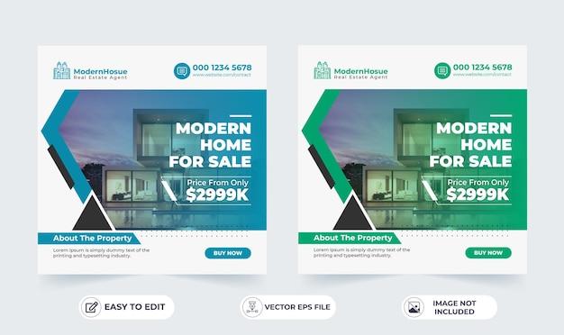 Sprzedaż Nieruchomości W Mediach Społecznościowych Szablon Kwadratowy Baner Premium Wektorów