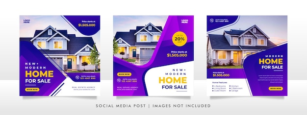 Sprzedaż nieruchomości w mediach społecznościowych szablon transparentu .