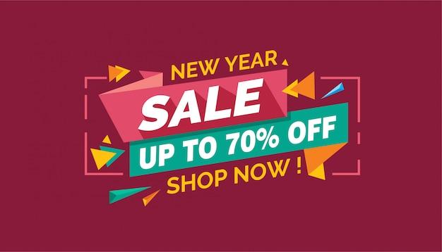 Sprzedaż nowego roku, kolorowy transparent sprzedaż