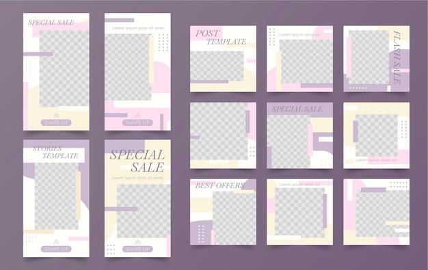 Sprzedaż nowy post minimalistyczny szablon instagram
