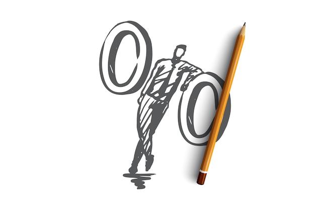 Sprzedaż, oferta, cena, znak, koncepcja rynku. ręcznie rysowane szkic koncepcji procentu zniżki.