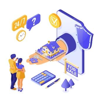 Sprzedaż online, zakup, wynajem, izometryczna koncepcja domu hipotecznego do lądowania