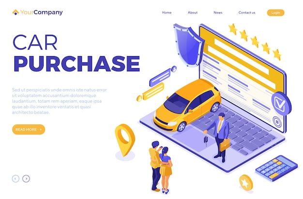 Sprzedaż online, zakup, wynajem, izometryczna koncepcja samochodu do lądowania, reklama z samochodem, laptopem, pośrednikiem w handlu nieruchomościami, kluczem, para z kartą kredytową. wynajem samochodów, carpooling, carsharing. odosobniony