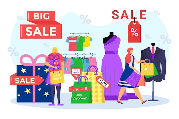 Sprzedaż, ostateczna zniżka dla szczęśliwych ludzi, ilustracji wektorowych. płaski mały mężczyzna postać kobiety kupić ubrania w projektowaniu sklepu detalicznego, najlepsza cena na zakupy upominkowe. klient trzyma paczkę w sklepie, pudełko na prezent.