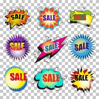 Sprzedaż pop-artu, dymek zestaw baniek