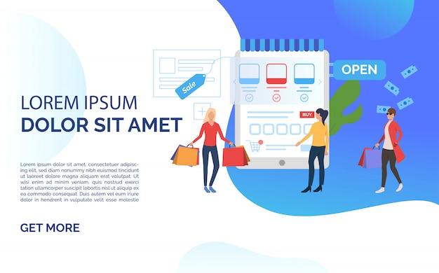 Sprzedaż prezentacji slajdów niebieski szablon