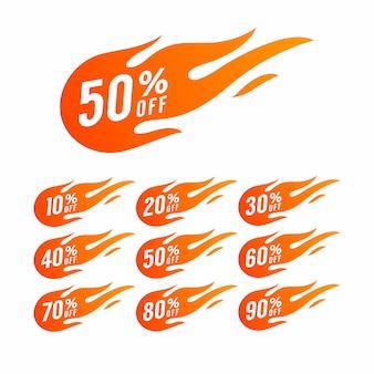 Sprzedaż rabat gorący znak ognia.