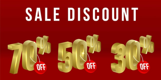 Sprzedaż rabat scenografia element złoty element promocyjny produktu lub usług