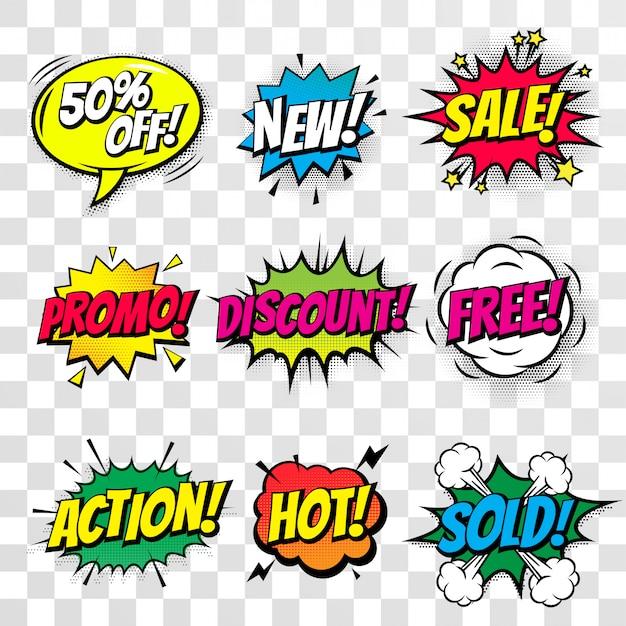 Sprzedaż rabat zakupy komiks tekst bańki na białym tle zestaw ikon