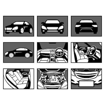 Sprzedaż samochodów czarno-biały zestaw ilustracji