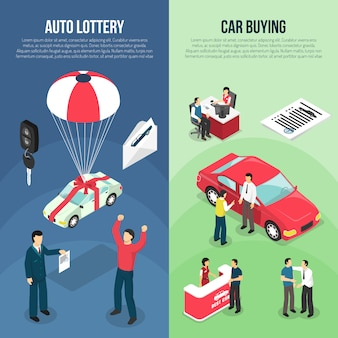 Sprzedaż samochodów pionowy zestaw bannerów