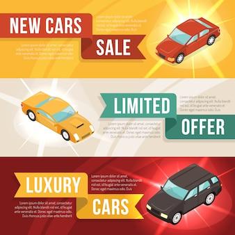 Sprzedaż samochodów poziomy zestaw bannerów