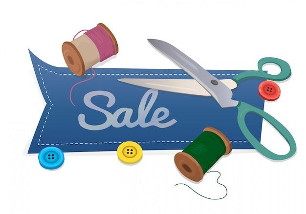 Sprzedaż słowo z nożyczkami i nici i przycisków