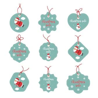 Sprzedaż stickers grafika. wesołych świąt szczęśliwe etykiety. tagi świąteczne świąteczne. santa claus, płatki śniegu, snowman.