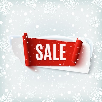 Sprzedaż, streszczenie transparent na tle zimowego śniegu i płatki śniegu. szablon broszury, plakatu lub ulotki. ilustracja.