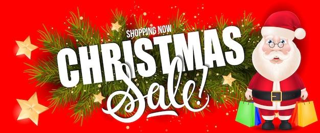 Sprzedaż świąteczna napis z mikołajem