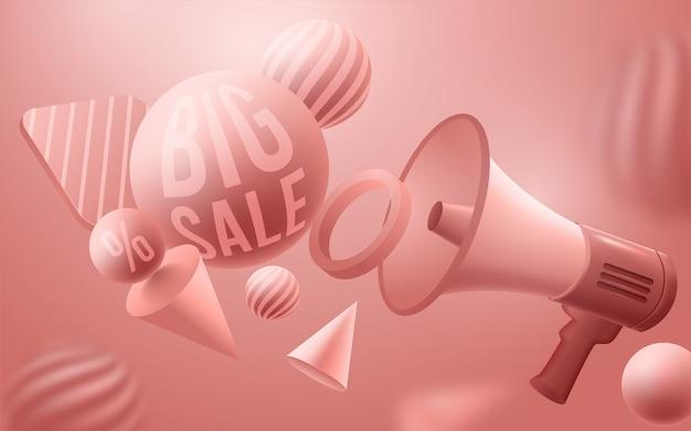 Sprzedaż szablon transparent, pastelowe żywe tło z futurystycznym kształcie 3d. ilustracja