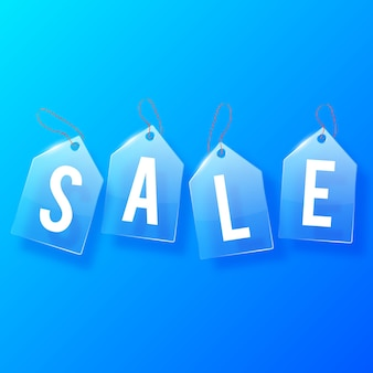 Sprzedaż tagi szkła koncepcja projektu z białymi literami na niebiesko