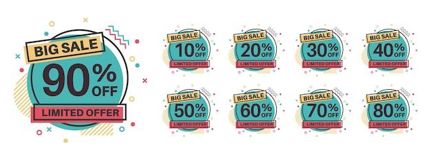 Sprzedaż tagów. odznaki rabatowe 10, 20, 30, 40, 50, 60, 70, 80, 90 procent zniżki. cena detaliczna produktów sprzedaży etykiet, oferta specjalna koło naklejki, marketingowe emblematy promocyjne wektor płaski na białym tle szablon