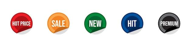 Sprzedaż trafiła na nową gorącą cenę i kolorowe okrągłe naklejki premium, zestaw etykiet promocyjnych, odznaki oferty detalicznej