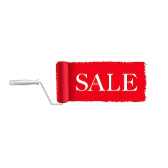 Sprzedaż transparent czerwony wałek do malowania i farby obrysu białe tło