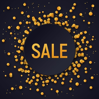 Sprzedaż transparent z złotym konfetti na czarnym tle