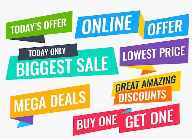 Sprzedaż w stylu płaskim i oferta dużego zestawu banerów