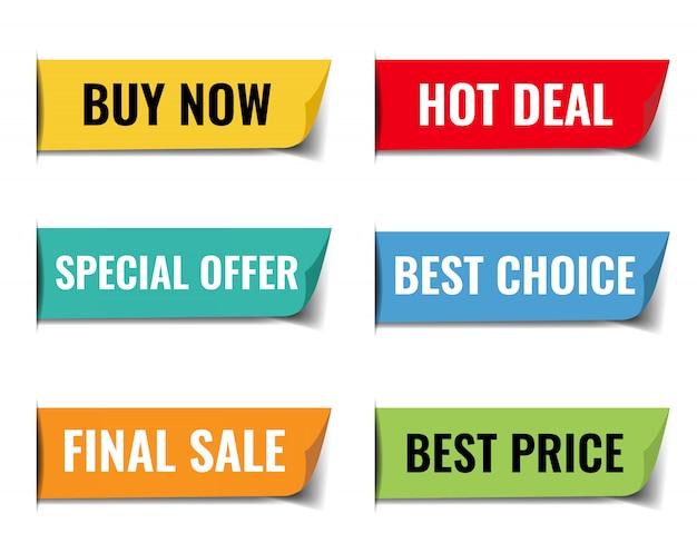 Sprzedaż web wstążki duży zestaw białym tle