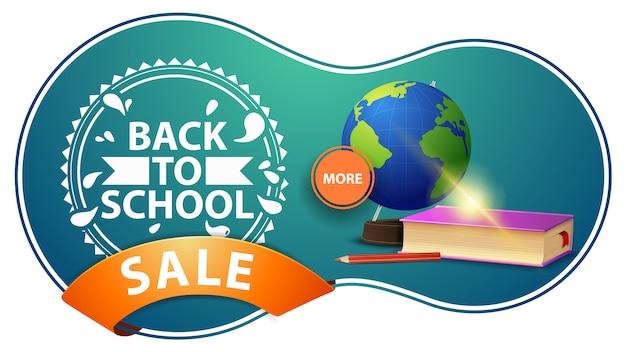 Sprzedaż z powrotem do szkoły, nowoczesny zielony sztandar z rabatem z podręcznikami globu i szkoły